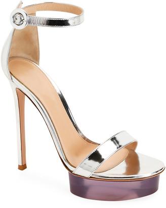Gianvito Rossi Metallic Metal Rubber Sandals