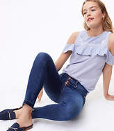 LOFT Modern Unpicked Button Fly Skinny Jeans in Rich Mid Indigo Wash