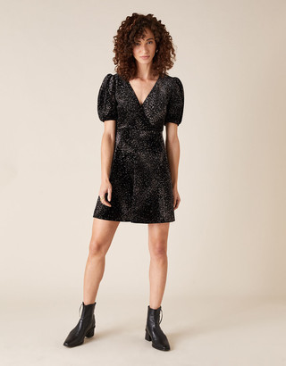Monsoon Georgie Glitter Stretch Velvet Dress Black