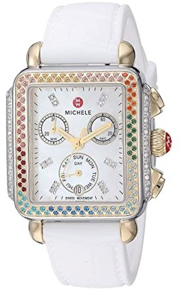Michele Deco Diamond Carousel On Croco Embossed Silicone Strap (White) Watches