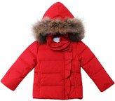 Oceankids Little Girl's Short Detachable Hood Zip Closure Down Parka 6-7 Years