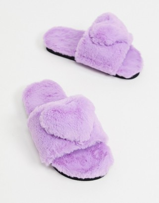 Monki Monkie Love recycled faux fur slippers in lilac
