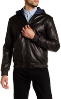 Elie Tahari Hooded Genuine Leather Reversible Jacket