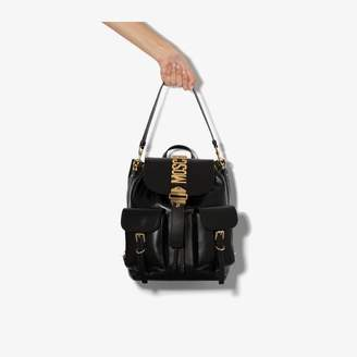 Moschino black logo leather backpack