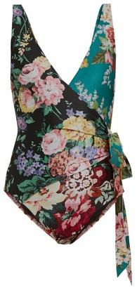 Zimmermann Allia Floral-print Swimsuit - Black