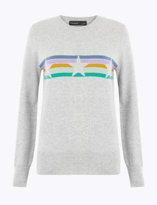Marks and Spencer Pure Cashmere Star Striped Jumper