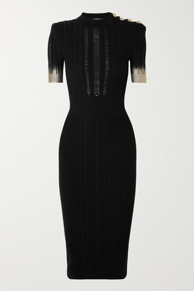 Balmain Button-embellished Metallic Ribbed Silk, Wool And Cashmere-blend Midi Dress - Black