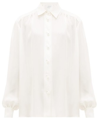 Roche Ryan Faux-pearl Buttoned Silk Blouse - Womens - White