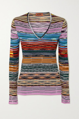 Missoni Striped Space-dyed Crochet-knit Top - Blue