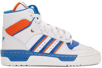 adidas White and Blue Rivalry High-Top Sneakers