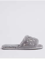 M&S Collection Pearl Detail Fur Mule Slippers