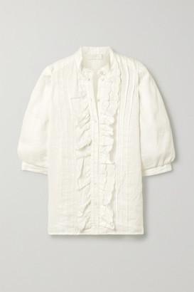 Zimmermann Amelie Pintucked Scalloped Linen Blouse - Ivory