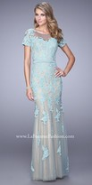 La Femme Netted Lace Applique Evening Dress