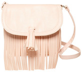 Capelli of New York Fringed Faux Leather Crossbody