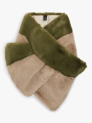 John Lewis & Partners Faux Fur Scarf, Khaki/Beige