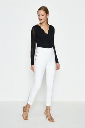 Coast Button Detail Cotton Sateen Capri Trousers