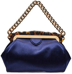 Edie Parker Aliza Framed Satin Chain-Handle Clutch Bag