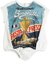 Dolce & Gabbana Pasta Print Cotton Jersey Bodysuit