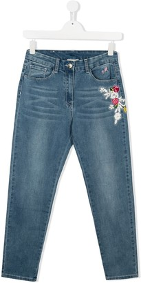MonnaLisa TEEN floral embroidery jeans