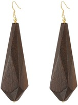 Kenneth Jay Lane Dark Wood Drop Earrings