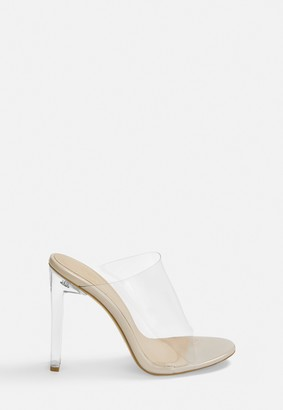 Missguided Nude Illusion Heels Clear Mules