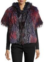 Tasha Tarno Short-Sleeve Boxy Fox Fur Jacket, Multicolor