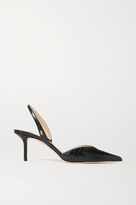 Jimmy Choo Thandi 65 Croc-effect Leather Slingback Pumps - Black