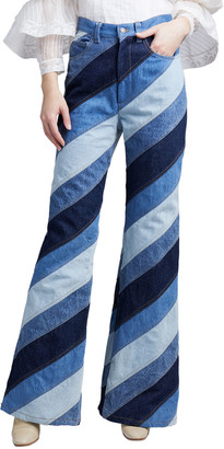 MARC JACOBS, RUNWAY Striped Patchwork Flare Jeans