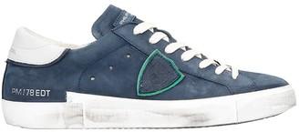Philippe Model Prsx L Sneakers In Blue Nubuck