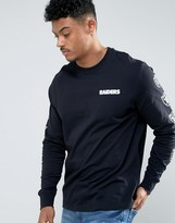 New Era Long Sleeve T-shirt With Raiders Sleeve Print