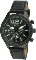 JCPenney TKO ORLOGI Womens Crystal-Accent Black Dial Multifunction-Look Bracelet Watch