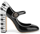Dolce & Gabbana Vally Embellished Two-tone Patent-leather Pumps - Black