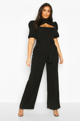 boohoo Plus Choker Cut Out Puff Sleeve Jumpsuit