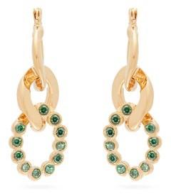 Hillier Bartley Crystal Curb Link Earrings - Womens - Green