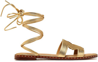 Maje Fio Cutout Metallic Leather Sandals