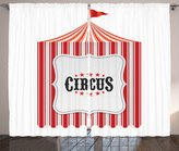Ambesonne Circus Decor Collection, Circus Tent Flag Pole Classic Festival and Childish Joy Leisure Themed Print, Window Treatments for Kids Girls Boys Bedroom Curtain 2 Panels Set, 108X84 Inches, Red
