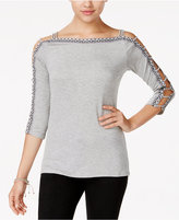 Jessica Simpson Dia Embroidered Cutout Top