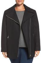 Calvin Klein Asymmetrical Wool Blend Coat (Plus Size)