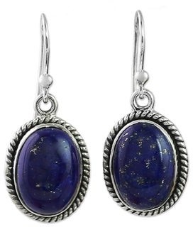 Novica Lapis Lazuli Dangle Earrings, 'Deep Blue Grandeur'