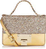 Jimmy Choo REBEL SOFT MINI Antique Gold Coarse Glitter and Mirror Leather Cross Body Bag