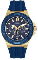 GUESS Men's U0674G2 Sporty Gold-Tone Stainless Steel Watch with Multi-function Dial and Blue Strap Buckle