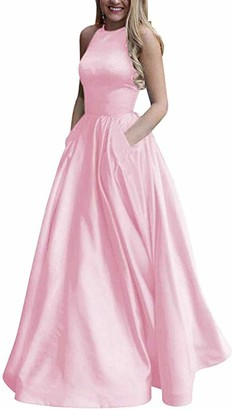 HONGFUYU Long Beaded Halter Satin Prom Dress A Line Open Back Evening Gowns with Pockets (Pink 10)