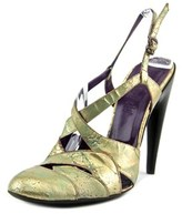 Gianni Barbato Bv1501 Women Round Toe Leather Gold Slingback Heel.