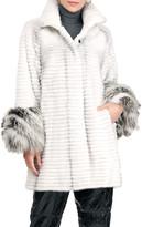 Gorski Horizontal Mink Fur Stroller Coat W/ Fox Fur Cuff