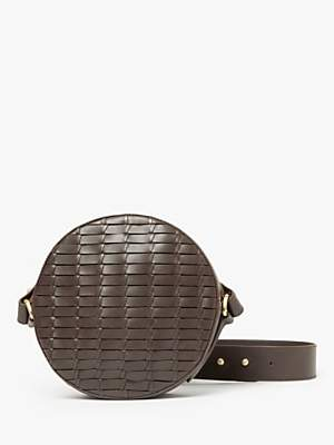 John Lewis & Partners Luna Leather Circle Cross Body Bag, Chestnut