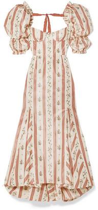 Brock Collection Ruffled Floral-print Taffeta Maxi Dress - Pink