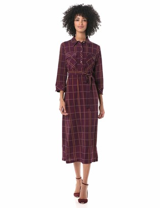 Donna Morgan Women's Matte Jersey 3/4 Sleeve Collared Shirt Dress
