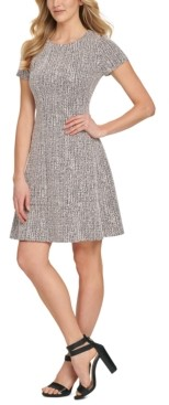 DKNY Textured Fit & Flare Dress