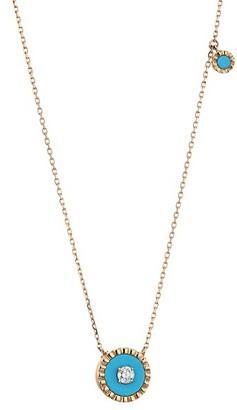 Marli Coco Femme 18K Rose Gold, Diamond & Turquoise Necklace