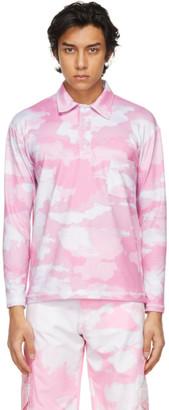 Phlemuns Pink Shirred Long Sleeve Polo